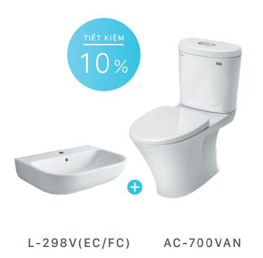 Combo bồn cầu Inax AC-700VAN+lavabo treo tường L-298V