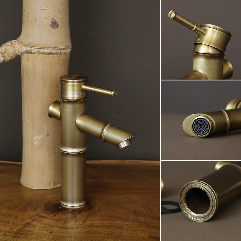 Vòi bằng đồng hình ống tre GCV02